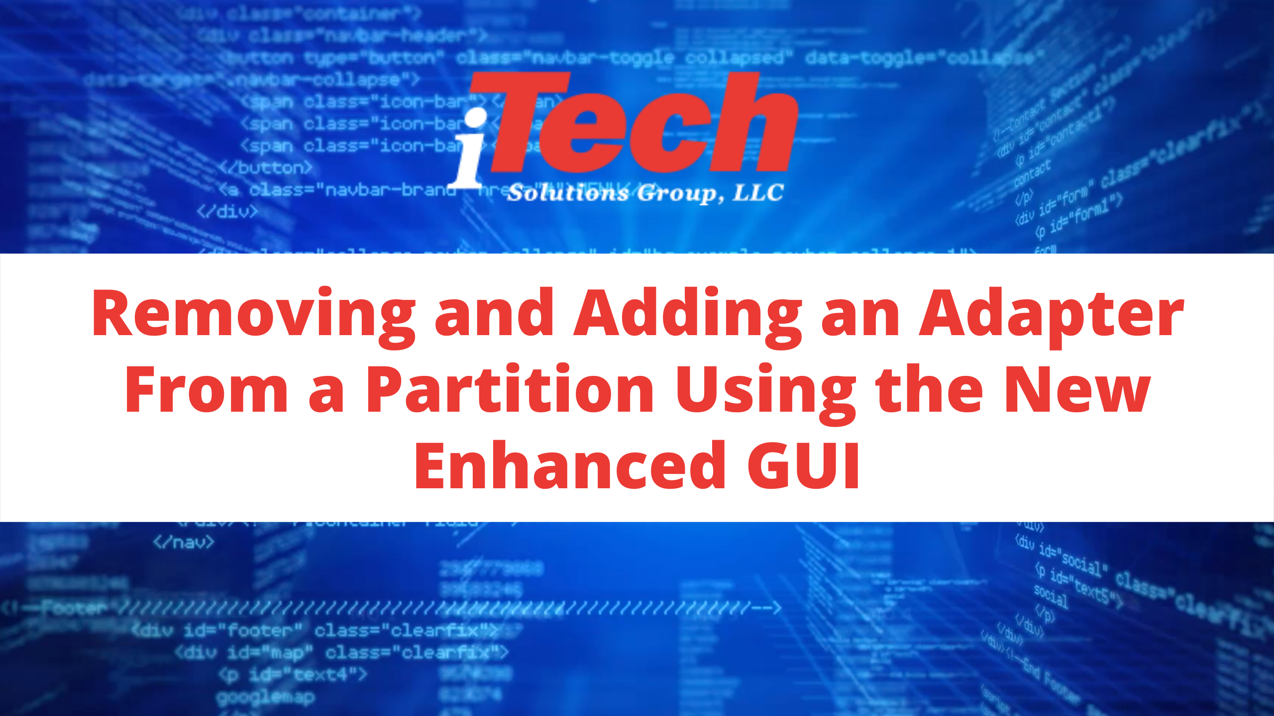 Removing and Adding an Adapter From a Partition Using the New Enhanced GUI (1)