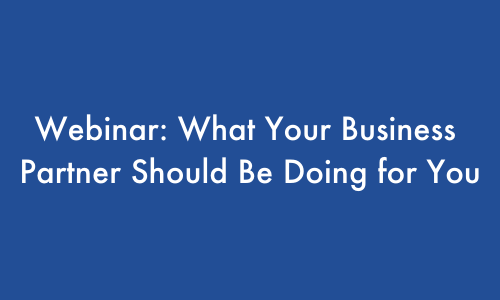 Webinar - What Your Business Partner Should Be Doing For You